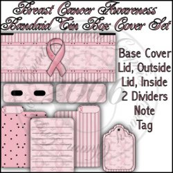 Breast Cancer Awareness Bandaid Tin Cover Set