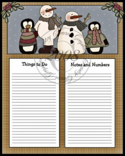 Winter Pals To Do Sheet