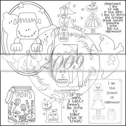 Whimsical Halloween Line Art & Pattern Collection