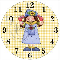 Whimsical Garden Girl Clock Insert
