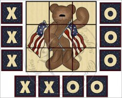 Americana Bear Tic Tac Toe Game Set