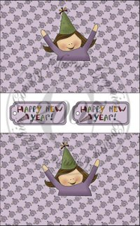 Happy New Year Girl Sour Cream Packets