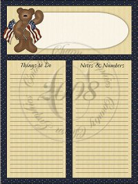 Americana Bear To Do Sheet