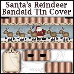 Santa's Reindeer Bandaid Tin Cover Set