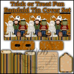 Trick or Treat Fun Bandaid Tin Cover Set