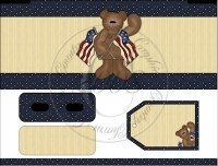 Americana Bear Bandaid Tin Cover Set