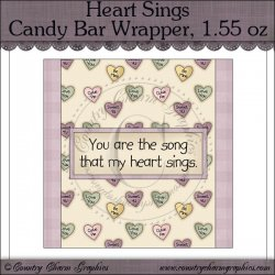 Heart Sings Candy Bar Wrapper, 1.55 oz Freebie