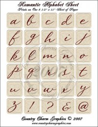 Romantic Alphabet Sheet