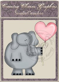 Valentine Elephant Single Graphic Set
