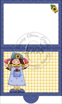 Whimsical Garden Girl Folding Notecard