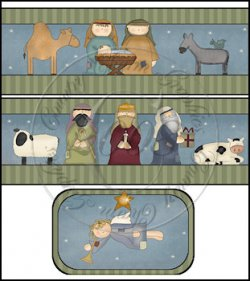 Whimsical Nativity International Coffee Tin Cover Set