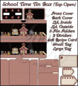 School Time Tin Box Cover Set (Top Open)
