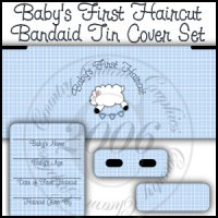 Baby's First Haircut Bandaid Tin Cover Set (Blue)