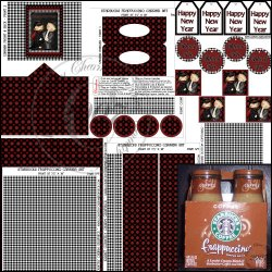 Happy New Year Starbucks Frappuccino Carrier Set