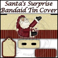 Santa's Surprise Bandaid Tin Cover Set