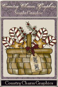 Candy Cane Basket Single Graphic Set