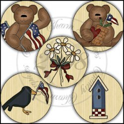 Americana Bear Bottle Cap Inserts