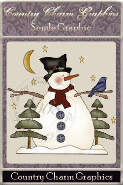 Starry Night Snowman Single Graphic Set