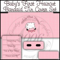 Baby's First Haircut Bandaid Tin Cover Set (Pink)