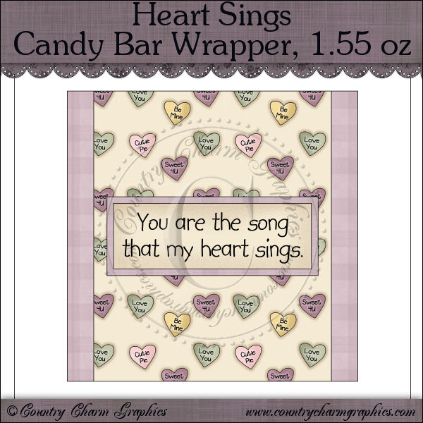 Heart Sings Candy Bar Wrapper, 1.55 oz Freebie - Click Image to Close