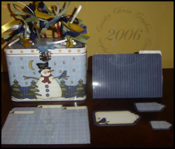 Starry Night Snowman Tin Box Cover Set (Top Open)